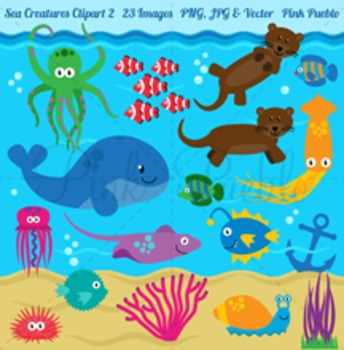 Sea Animals and Sea Creatures Clipart Clip Art - Commerical Use