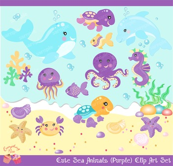 Sea Animals for Girls in Purple Clipart Set