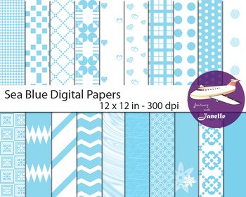 Sea Blue  Digital Papers for Backgrounds, Scrapbooking & C
