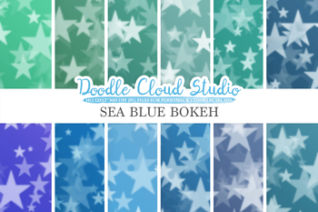 Sea Blue Stars Bokeh digital paper, Sea Blue colors Bokeh Overlay
