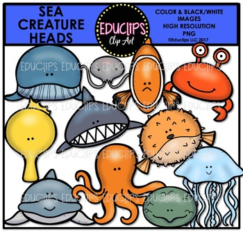 Sea Creature Animal Heads Clip Art Bundle {Educlips Clipart}