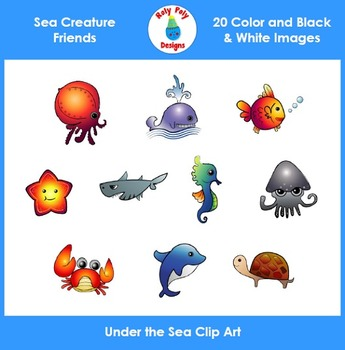 Ocean Animals and Sea Creature Buddies Clip Art