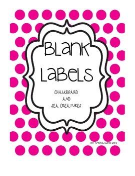 Sea Creature/ Chalkboard Blank Labels