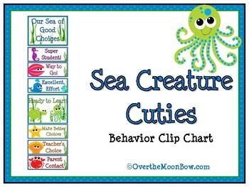 Sea Creature Cuties Behavior Clip Chart