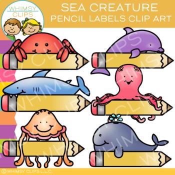 Pencil Label Ocean Animals Clip Art