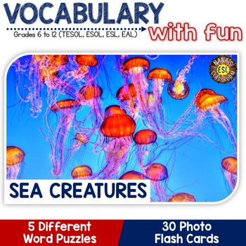 Sea Creatures: 5 Different Word puzzles and 30 Photo Flash Cards