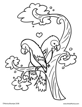 Parrots Cute Coloring Sheet jungle, rain forest, zoo theme