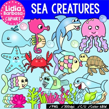 Sea Creatures {Clip Art for Teachers}