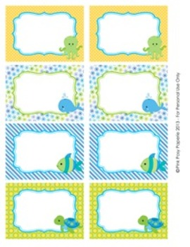 Sea Creatures Classroom Decor Bin Tag Labels