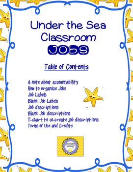 Sea /Nautical Classroom Jobs and Routines-- Back to School Management