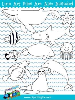 Sea Creatures Clip Art Collection
