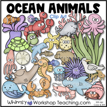 Sea Creatures Clip Art Double Set Bundle