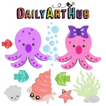 Sea Creatures Clip Art - Great for Art Class Projects!