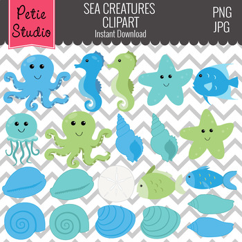 Sea Creatures Clipart, Ocean Clipart, Seashell Clipart - Animals113