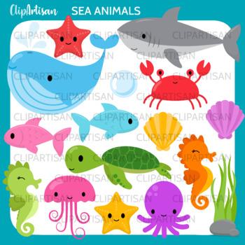 Sea Animals Clip Art, Ocean Creatures