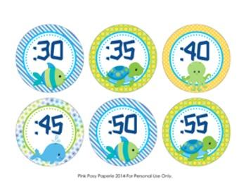 Sea Creatures Clock Number Labels