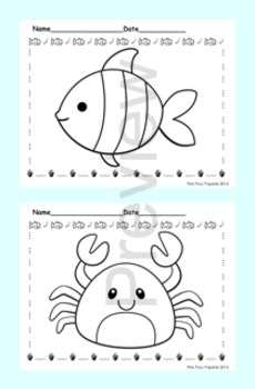 Sea Creatures Coloring Pages - 8 Designs - Black and White