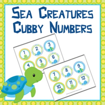 Sea Creatures Cubby Number Labels 1-30