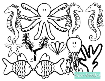 Sea Creatures Digital Clip Art- Black Line