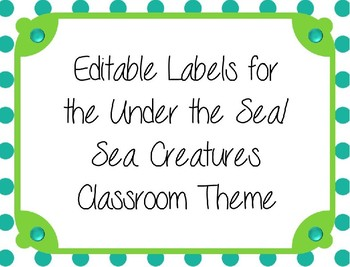 Sea Creatures Editable Labels