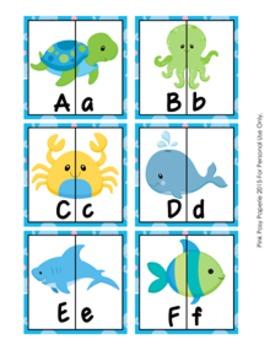 Sea Creatures Ocean Letter Match Puzzles