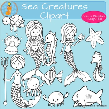 Sea Creatures Mermaids Mermen Clipart Personal and Commercial Use