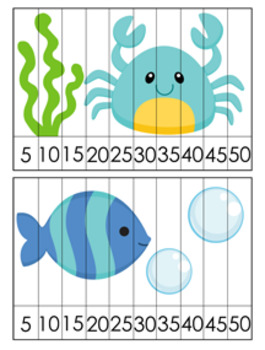 Sea Creatures Number Counting Strip Puzzles - 8 Different Designs - Skip by 5