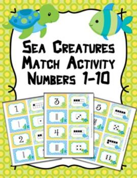 Sea Creatures Ocean Number Match Activity