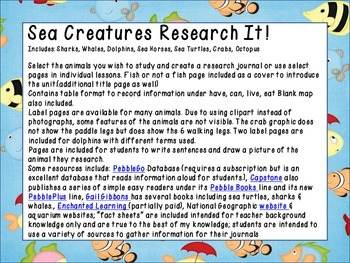 Sea Creatures Research It!