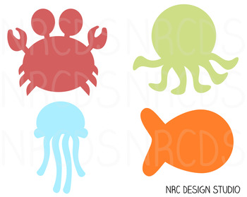 Sea Creatures SVG Cutting File - Commercial Use SVG, DXF, EPS, png