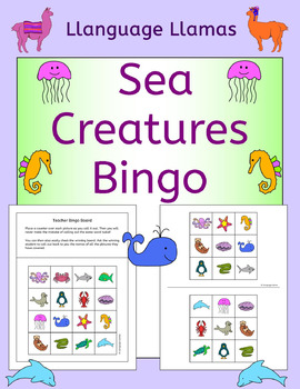 Ocean Creatures /  Sea Animals Bingo for ESL EAL EFL MFL
