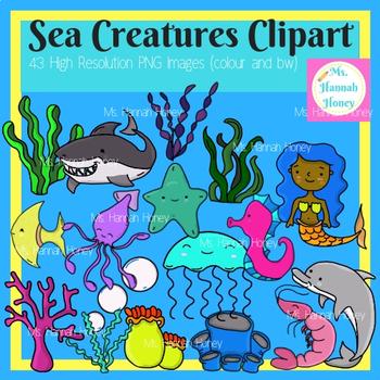 Sea Creatures Sea Animals Clipart Bundle