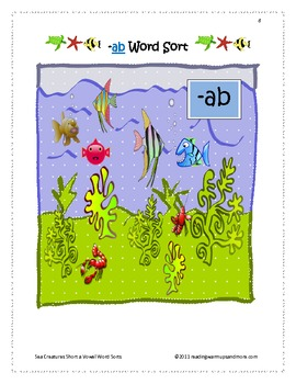 Sea Creatures Short a Vowel Word Sorts - ab, -ack, -act, -ad, -ag