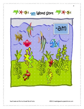Sea Creatures Short a Vowel Word Sorts - am, -amp, -an, -and