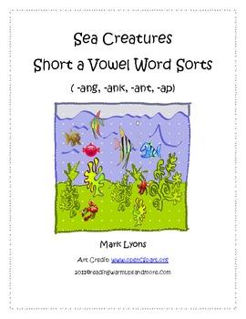 Sea Creatures Short a Vowel Word Sorts - ang, -ank, -ant, -ap