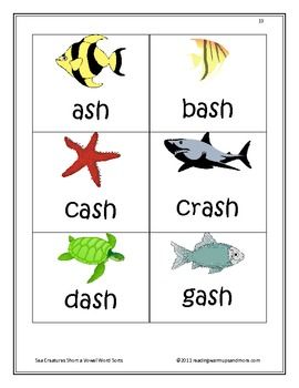 Sea Creatures Short a Vowel Word Sorts - ash, -ask, -ast, -at, -ath