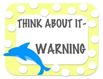 "Sea Creatures/ Underwater Theme Behavior Management Chart ""Clip Up, Clip Down"""