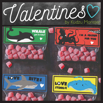 Sea Creatures Valentine Treat Topper
