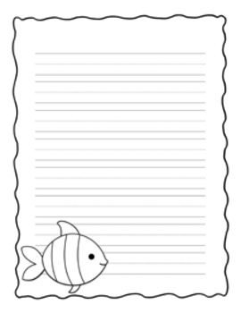 Sea Creatures Writing Paper - Black and White - 3 Styles