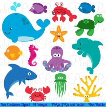 Sea Creatures and Ocean Animals Clipart Clip Art
