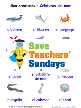 Sea Creatures in Spanish Worksheets, Games, Activities and Flash Cards