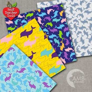 Dolphin Digital Papers, Nautical Scrapbook Papers and Backgrounds, AMB-439