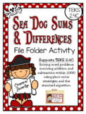 Sea Dog Sums & Differences: A File Folder Game for TEKS 2.4C