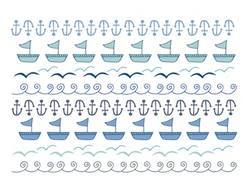 Sea Doodle Borders, Sea Clipart, Anchor, Waves, Sea Clipart Set #038