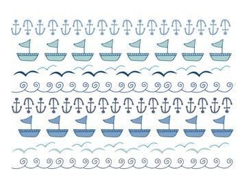 Sea Doodle Borders, Sea Clipart, Anchor, Waves, Sea Clipar