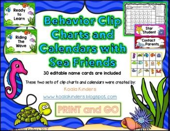Sea Friends Behavior Clip Charts and Calendars BUNDLE