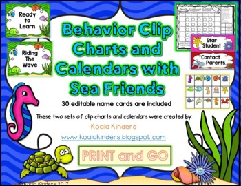 Sea Friends Behavior Clip Charts and Calendars BUNDLE 2018