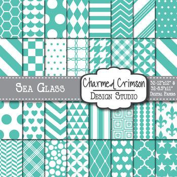 Sea Glass Blue Green Digital Paper
