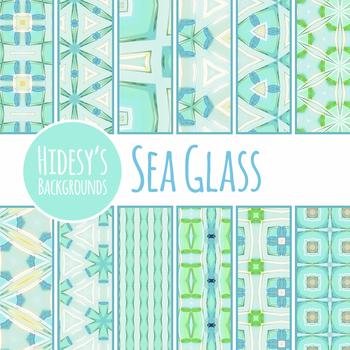 Sea Glass Digital Paper / Backgrounds Clip Art Set Commercial Use
