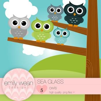 Sea Glass - Owl Clip Art